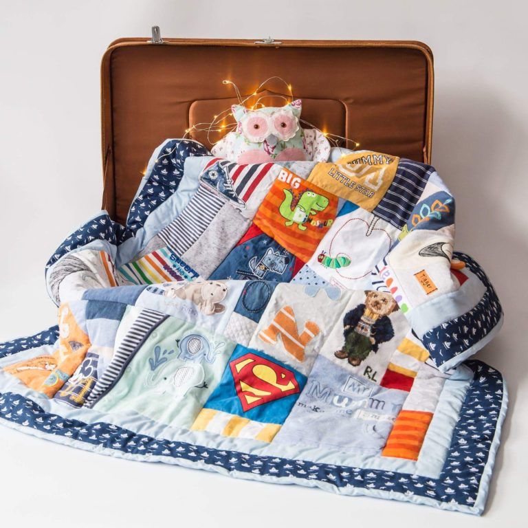 memory quilt in suitcase