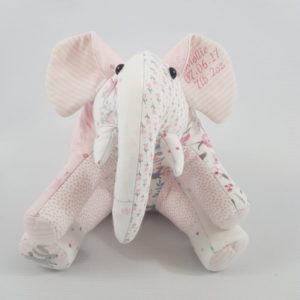 keepsake elephant made out of pink baby outfits