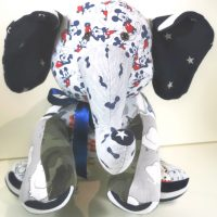 a memory elephant using baby boy clothing
