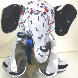 a memory elephant using baby boy clothing